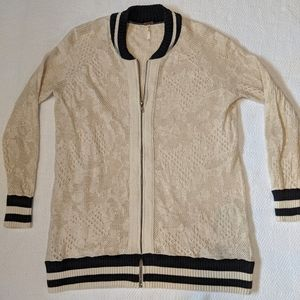 Free People lace varsity style zip sweater